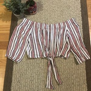 Forever 21 Striped Tie-front top
